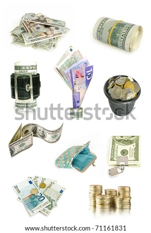 money collection isolated on white - stock photo
