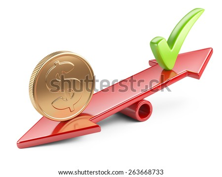 Money concept, coin and check mark on scale balance seesaw - stock photo