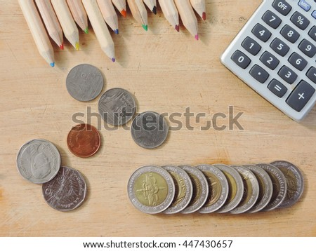 Money concept,coin with calculator on wood table.           - stock photo