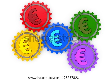 Money concept 3d icon with five gears and euro colored sign, business or economy metaphor, - stock photo