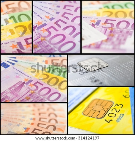 Money concept: euro banknotes and credit cards - stock photo