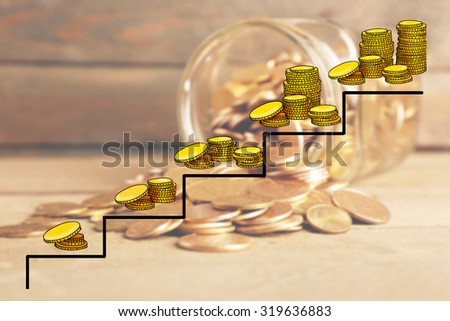 Money concept. Glass jar with coins - stock photo