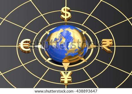 money concept, global currencies. 3D rendering - stock photo