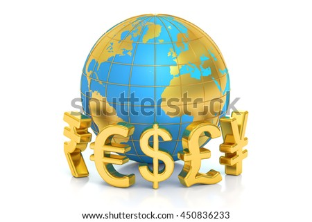 money concept, global currencies. 3D rendering  isolated on white background - stock photo
