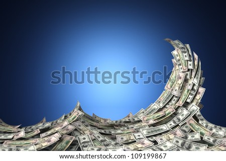 Money concept showing a wave of US dollar bills. Shallow depth of field. - stock photo