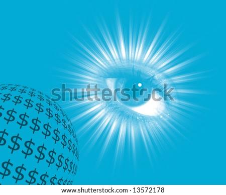 Money concept showing eye over dollar globe - stock photo