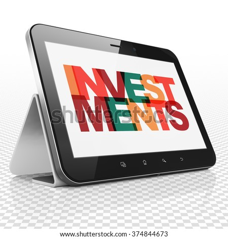 Money concept: Tablet Computer with Investments on  display - stock photo