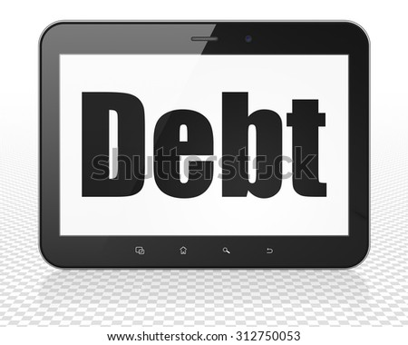 Money concept: Tablet Pc Computer with black text Debt on display - stock photo