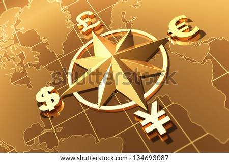 Money concept  with symbols of Dollar,  Euro, Pound,  and Yen - stock photo