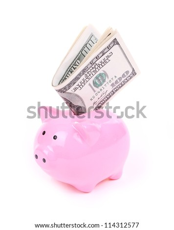 money dollar bills and piggy bank isolated on white - stock photo