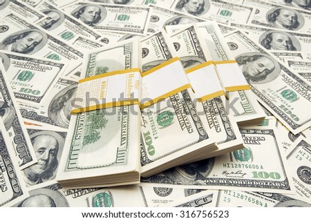 Money dollar bunch stack  - stock photo