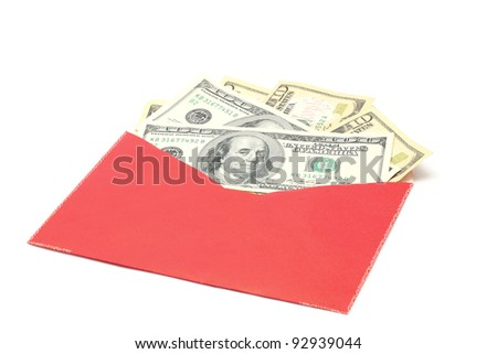 Money Dollar Cash Banknote in Red Envelope on White Background using for Chinese New Year Celebration Concept (Selective focus at Banknotes) - stock photo