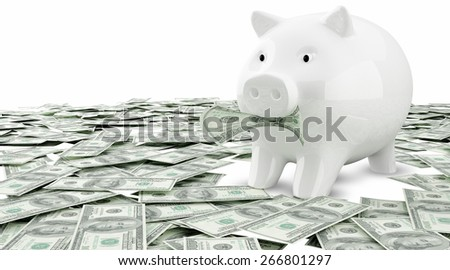 Money dollar dollars business money box pig credit bank savings - stock photo
