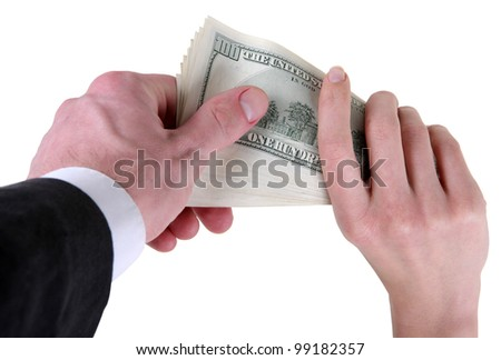 Money dollars a woman gives a man - stock photo
