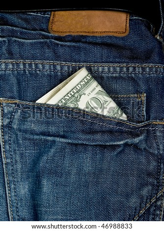 money dollars in pocket blue jeens - stock photo