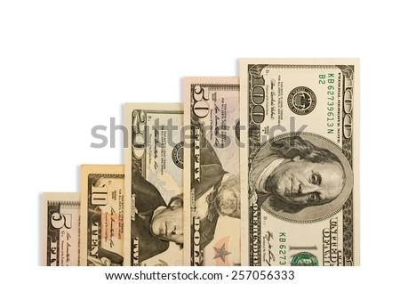Money dollars isolated on whitw background - stock photo