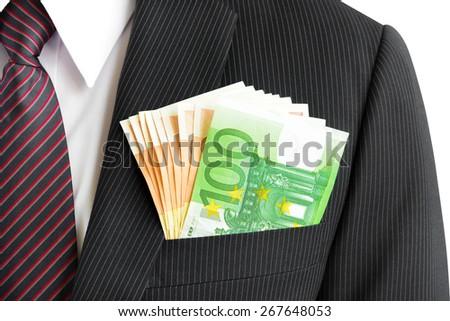 Money, Euro currency(EUR) bills, in businessman suit pocket - stock photo