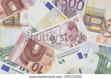 Money: European Currency & Turkish Currency - stock photo