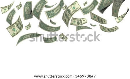 money falling from the sky, dollars - stock photo