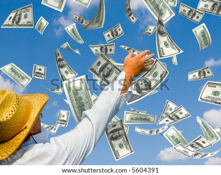 money falling in the sky background - stock photo