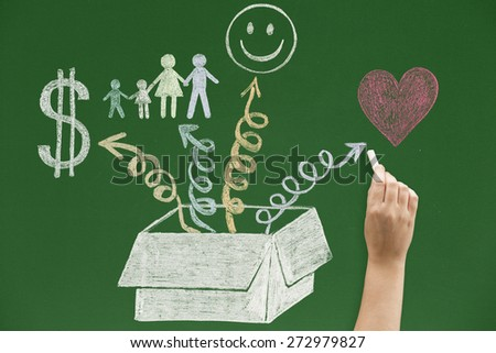 Money family happiness and love coming out of the box - stock photo
