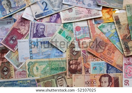 money from all over the world - stock photo