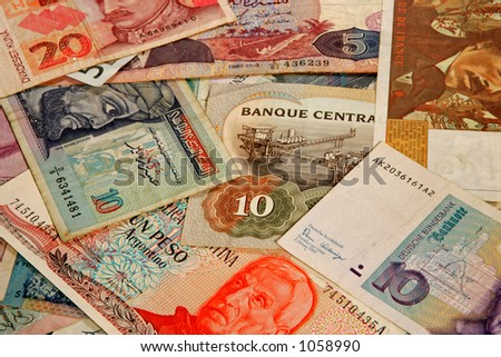 Money from many different countries - stock photo