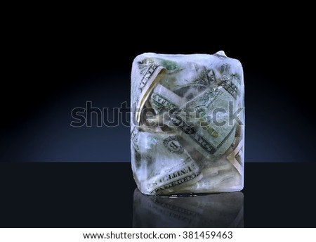 Money Frozen in a Block of Ice - stock photo