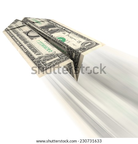 Money Getting Away: An illustration of a US dollar bill folded into a paper airplane and thrown as related to frivolous spending or expensive debt with little or no return. - stock photo
