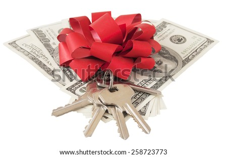 Money gift. Money bonus. Stack with money with red bow and key isolated on white background with sample text - stock photo