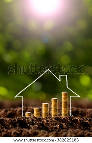Money growing in soil with house , success concept. - stock photo