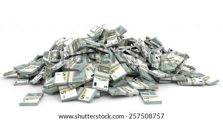 Money heap on white background. Five euros. 3D illustration. - stock photo