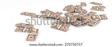 Money heap on white background. Ten dollars. 3D illustration. - stock photo