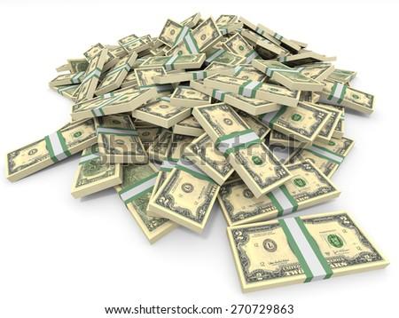 Money heap on white background. Two dollars. 3D illustration. - stock photo