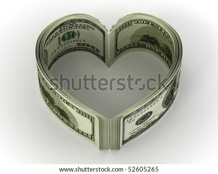 Money. Heart. 3d - stock photo