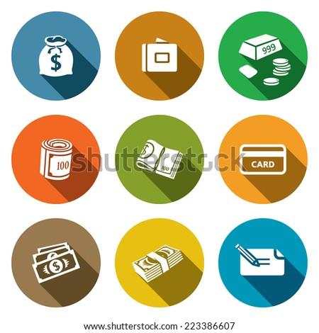 Money icon collection - stock photo