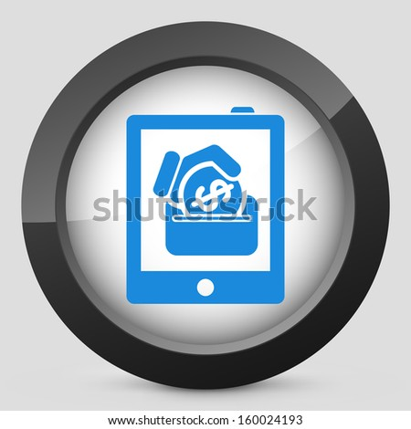 Money icon on touch device - stock photo