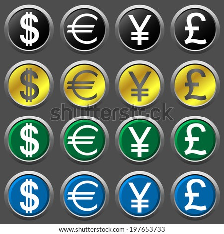 Money icon set for design. Raster illustration. - stock photo