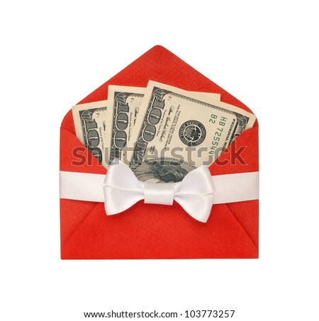Money in a bright red envelope, with white ribbon bow isolated on white background. - stock photo