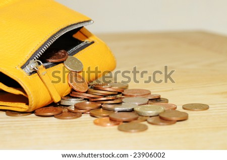 money in a change purse - stock photo
