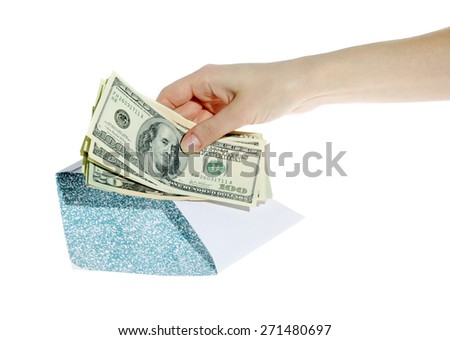 Money in a hand on the white background. (isolated)  - stock photo