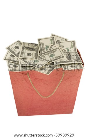 Money in a red Shopping Bag. Isolated on a white background. - stock photo