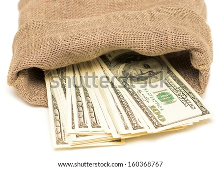 money in a sack isolated on white background - stock photo