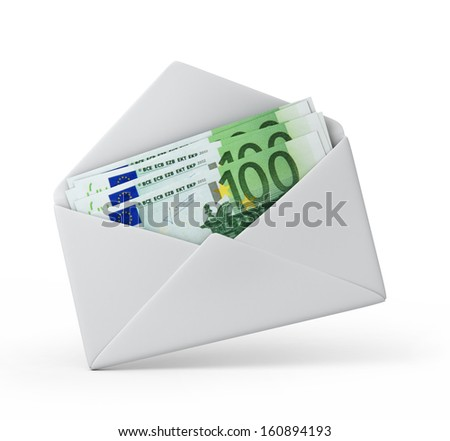 money in an envelope, Euro version. 3d illustration with work path - stock photo