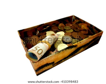 Money in an old box, banknotes and coins, isolated on white - stock photo