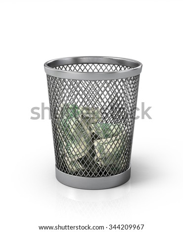 Money in basket. Isolated over white - stock photo