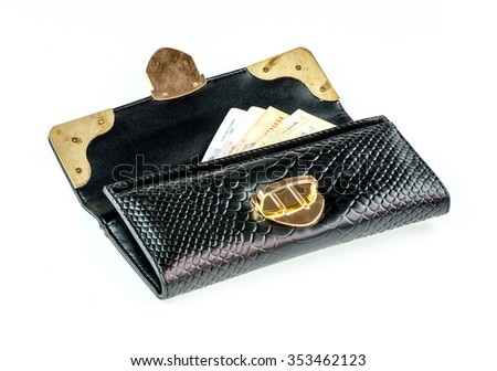 Money in black wallet on a white background. - stock photo