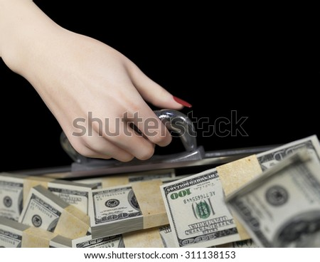 money in case and woman hand business success concept - stock photo