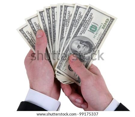 money in dollars in man's hand fan - stock photo