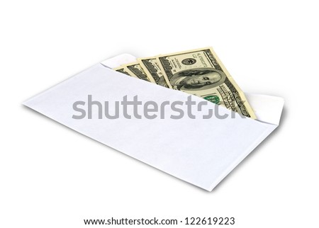 Money in envelope isolated on white, clipping path inside. - stock photo